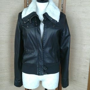 Xhileration bomber jacket pleather and faux fur M